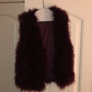 Beautiful burgundy feather vest